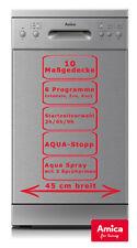 Amica Geschirrspüler 45cm Edelstahlfront AquaStopp Spülmaschine 10 Maßgedecke