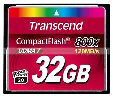 Transcend CompactFlash 32GB 32G 800X 120MB/SEC Read 40MB/SEC Write UDMA7 CF Card