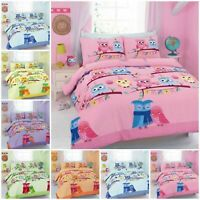 Cute Love Owl Duvet Quilt Cover With Pillow Cases Kids Bedding Set All Sizes