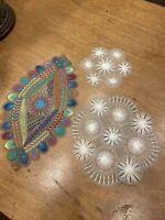 Lot of 3 Antique Vintage Nanduti Needle Lace Multicolor Rainbow Doily Handmade
