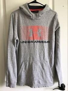 boys youth UNDER ARMOUR gray long sleeve hooded sweat shirt size YXL