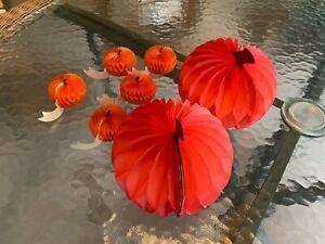 Vintage Halloween 5 honeycomb miniature pumpkins 2 small pumpkins made Denmark