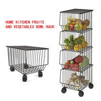 4 Tier Kitchen Trolley Wheeled Cart Vegetable Rack Fruit Basket Storage Unit