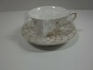 Grace's Teaware Fine Porcelain White / Gold / Red Accent Cup & Saucer Set NEW