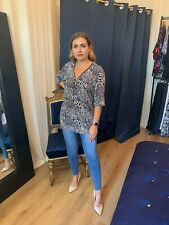Designer Ladies Tops Animal Print Zip Up Blouse Comfy Baggy Top Sizes 8 - 20UK