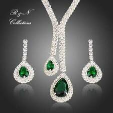 White Gold plated Silver Green Swiss Cubic Zirconia Necklace & Earrings Set S438