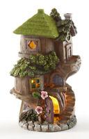 "New Fairy Garden Gnome SOLAR LIGHT WHIMSICAL TREE HOUSE FIGURINE Resin Statue 8"""