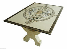 Tavolo con Intarsi in Marmo Crema Marfil e Pietre Dure Art Inlay Marble Table