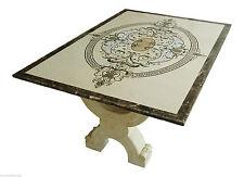 Table avec Intarsi en marbre Crème Marfil et Pierres Semi-précieuses Art