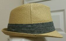 NWT Mens Casual Tan Silver Fedora Trilby Gangster Cap Straw Panama Hat SZ L/XL