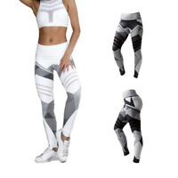 Womens High Waist Elastic Leggings Hip  Slim Pants Yoga Fitness Trousers #@