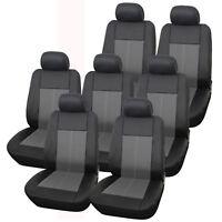 Premium Leather Look Milan Black & Grey Car MPV Seat Cover Set 14 Piece