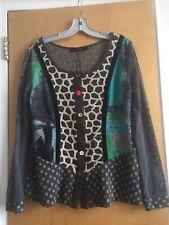 Lulu H Paris Women's L Mixed Materials Top Cardigan Sweater Jacket  Multicolored