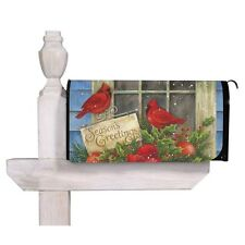 NEW EVERGREEN MAGNETIC MAILBOX COVER SEASONS GREETINGS CARDINALS RED BIRDS