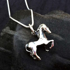 Horse Pendant on Box Chain | Sterling Silver Prancing Horse | Length 16 in