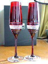 Waterford Crystal John Rocha Red VOYA Champagne Flutes  Set /2 - NEW / BOX!