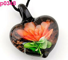 Handmade Flower Leaf Art Glass Beaded Pendant Black Cord Necklace p0348