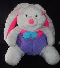 "17"" Vintage Nylon White Pink Purple Easter Bunny Rabbit Stuffed Animal Plush Toy"