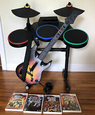 Nintendo Wii Guitar Hero World Tour Drum Set With Mic,Guitar, And 4 Games READ