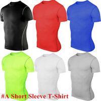 Men T-Shirt Compression Under Base Layer Short Sleeve Sports Athletic Fitness