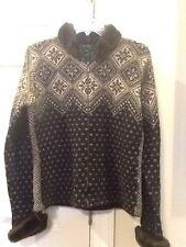 Lauren Ralph Lauren ladies medium full zip wool cardigan, faux fur collar,cuff
