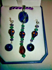 SUGAR SCULL EARRINGS AND NECKLACE STAINED GLASS NEW item handmade PIERCED dangle