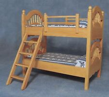 1:12 Scale Pine Bunk Bed & Blue & White Patterned Mattress Tumdee Dolls House 86