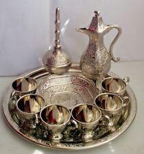 Turkish Copper ZAM-ZAM Set CUPS ROSE WATER IBRIK DATE BOWL TRAY Kindness Set