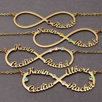 Personalized Infinity Name Necklaces Nameplate Pendant Chain Best Friend Jewelry