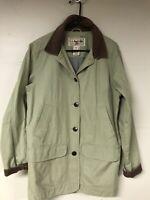 LL BEAN Women's Lt Green Barn Field Coat With Corduroy Collar Flannel Lined Sz M