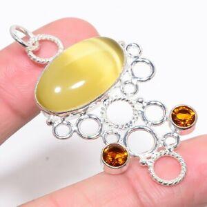 """Lemon Cat'S Eye & Citrine Gemstone 925 Sterling Silver Pendant 2.25"""" M1425"""