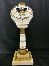 Antique Oil Lamp, 1870 's Boston and Sandwich Glass, Double Marble Base