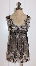HALE BOB TOP FLORAL SHEER EMBROIDERED MESH TUNIC SZ S