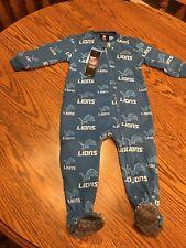 Detroit Lions NFL One-Piece Baby Fleece Pajamas Sleeper, Size 18 Months - NWT