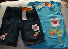 Gymboree Rainbow Cabana blue big flower top & denim cuffed shorts NWT 6