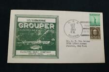 NAVAL COVER 1941 SHIP CANCEL LAUNCHING USS GROUPER (SS-214) (6547)