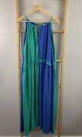 Kim Barton Size 10 Blue Green Maxi Dress Halter Two Tone Blouson