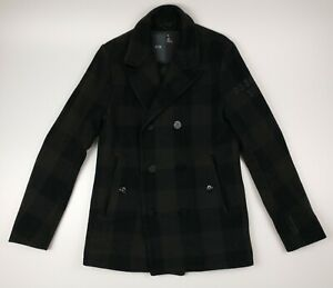 G Star Raw Morter P Coat Double Breasted Black Green Check Wool Blend Size M