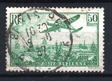 "FRANCE STAMP POSTE AERIENNE 14a "" AVION PARIS 50F VERT "" OBLITERE TB  R552"