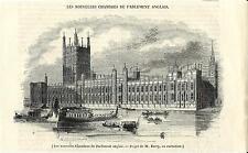 Stampa antica LONDRA LONDON Palazzo del Parlamento 1844 Old antique print