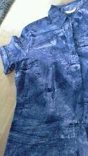 Refb89)m&s top size 16.indigo patterned.short sleeve.collar