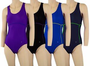 ACCLAIM Nice Two Colour Ladies Girls Strap Back Swimming Costume Swim Suit Lycra