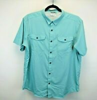 Columbia Omi-Wick Short Sleeve Men's X-Large Button Up Shirt Teal Vented Back