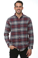 Elevani Men's Long Sleeve Regular Fit Flannel Casual Grey/Red Shirt