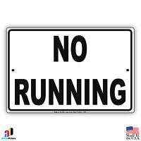 No Running - Pool Area Aluminum Metal 8x12 Warning Sign