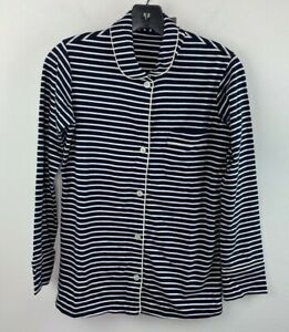 J.Crew Petite Dreamy Cotton Pajama Top Size PXXS E4282 Navy Blue Striped