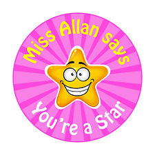80 Personalised Teacher Reward Stickers for Pupils You're a Star in pink