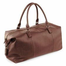 Mens PERSONALISED  Travel luggage gift faux leather weekend duffle bag, holdall