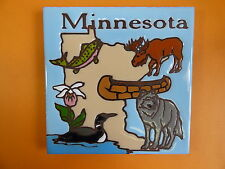 "Ceramic Art Tile 6""x6"" Minnesota collector state tile Wolf Moose Fish Canoe G84"