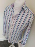 Ted Baker Shirt Blue Stripe Large 42 Chest Long Sleeve 15.5 Collar